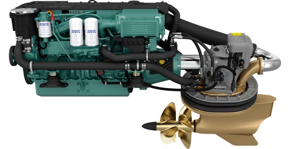 The 370-hp Volvo Penta IPS500 is a modern turbocharged common-rail diesel. In this photo the engine is mated to a pod drive system with twin counter-rotating props. Note that the filters on the port side of the engine are easily accessible for changing. Volvo Penta photo.