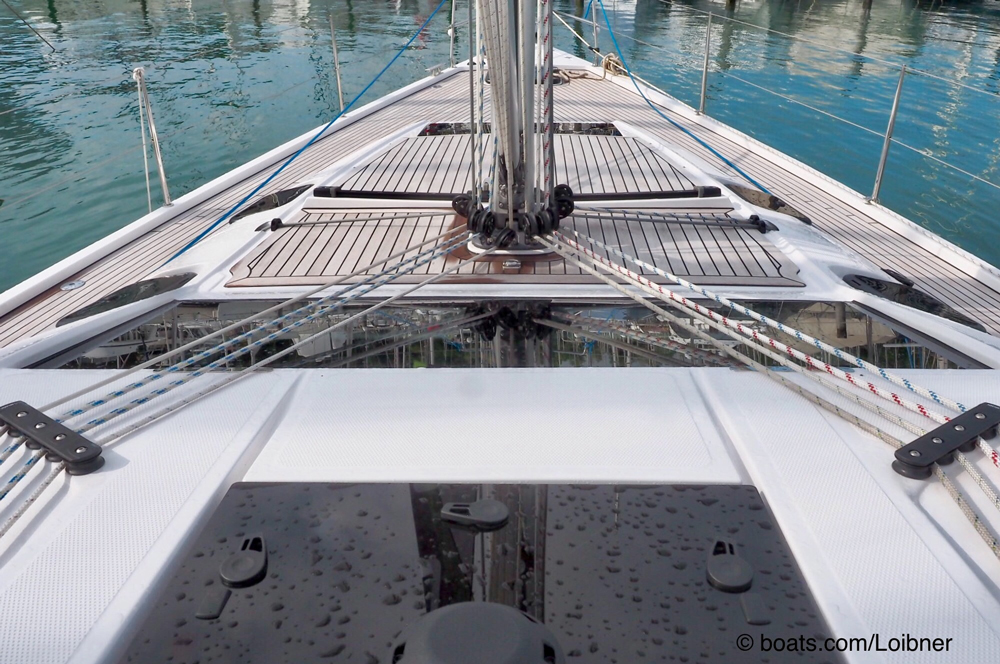 The Elan 50 is rigged for a couple to sail her competently.