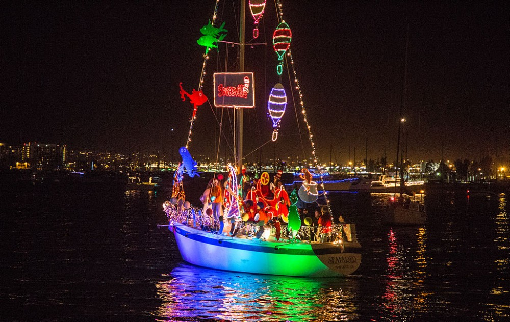 One fish, two fish, red fish, blue fish—this sailboat has taken on the holiday theme of a Dr. Seuss Christmas.
