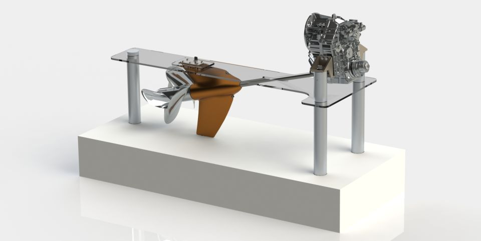 The ZF Marine Project Disruption concept places a gearbox within the propshaft strut that drvies contra-rotation propellers.