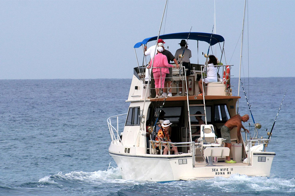 Just a hop, skip, and a jump from paradise, you'll encounter massive blue marlin off Kailua-Kona.