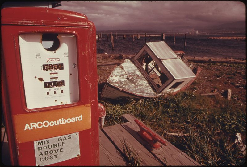 gas pump and boat 1974