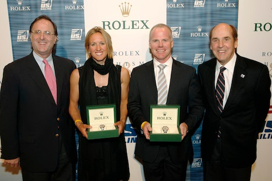 Anna Tunnicliffe and Terry Hutchinson receive Rolex Yachtswoman and Yachtsman of the Year honors at the New York Yacht Club, accompanied by Peter Nicholson (left) of Rolex and Charlie Leighton of US SAILING (right). Dan Nerney photo