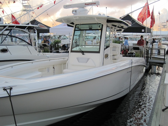 The 320 Outrage with twin Verado Mercury outboards debuted at the show.