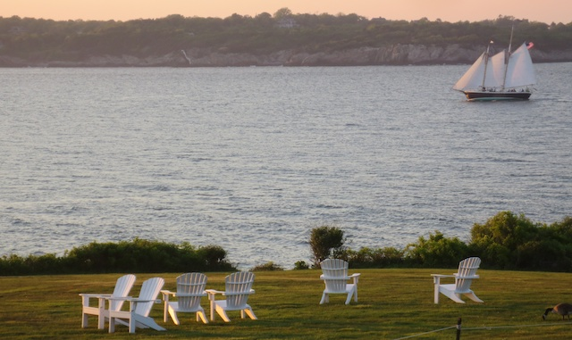 Charter schooner Aquidneck and Adirondack chairs