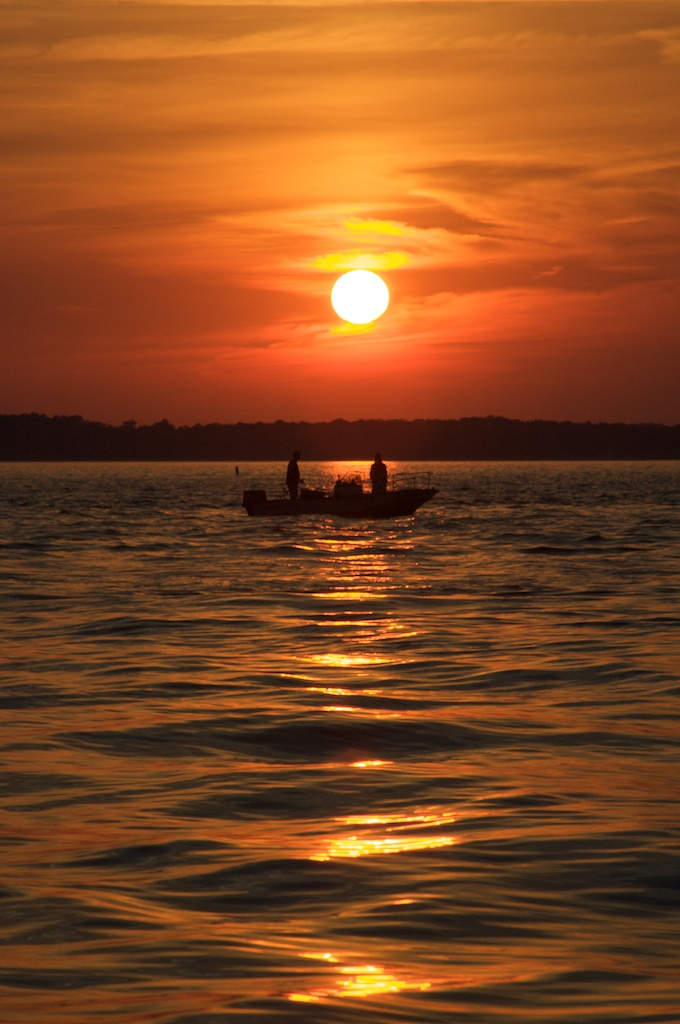 The sun sets on a day of fishing near Cape Cod, MA.