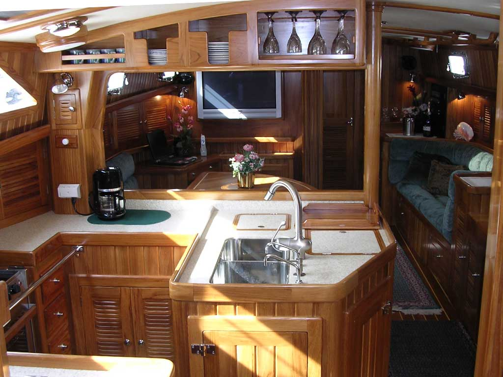 A photo of the Cabo Rico 56 main saloon and galley.