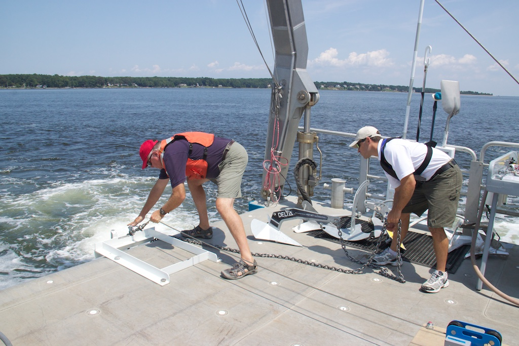 Fortress Anchor representatives get ready to put a 44-pound Delta anchor through its paces. Note the blue tension meter on deck to the right.