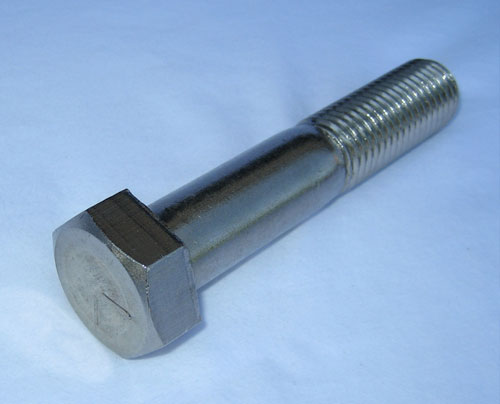 A photo of a hex head machine bolt.