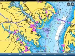 A screen shot of the Navionics smartphone and tablet app.