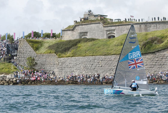 2012 Olympics Ainslie sails by spectators