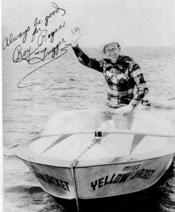 A photograph of Roy Rogers in a Yellow Jacket powerboat.