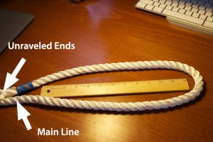 A photo showing how to splice three-strand dock line.