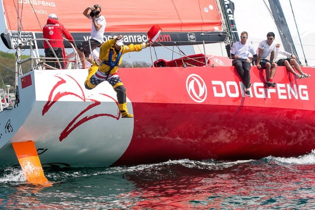 Sam Greenfield jumps off Dongfeng Race Team at Volvo Ocean Race Leg 7 start