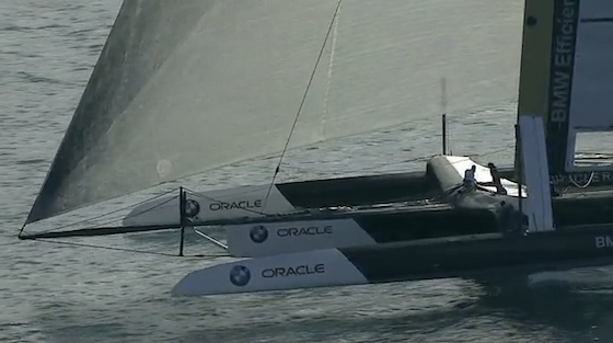 The flying bows of the trimaran challenger for the America's Cup.