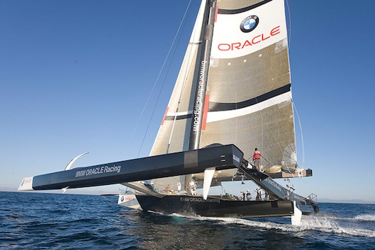 Built in Washington state, the BMW Oracle trimaran gets tested here off San Diego.