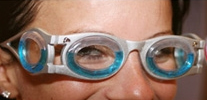 Boarding ring glasses on a model