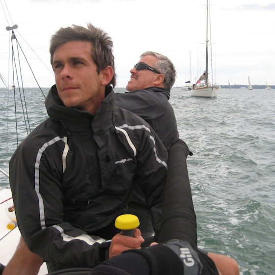 On the rail, approaching the finish at Cowes.