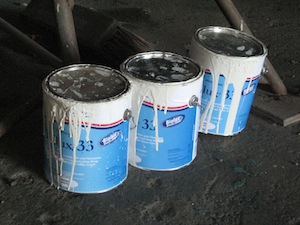 Five coats used most of these three gallons of top-of-the-line Trilux 33 bottom paint.