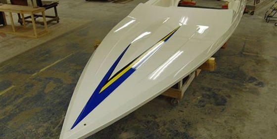 A finished deck of the new 26 Convincor from Checkmate Powerboats.