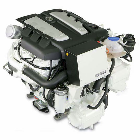 VW's TDI 265-6 three-liter V6 diesel will be mated to MerCruiser's Bravo 1 and Bravo 3 sterndrives.