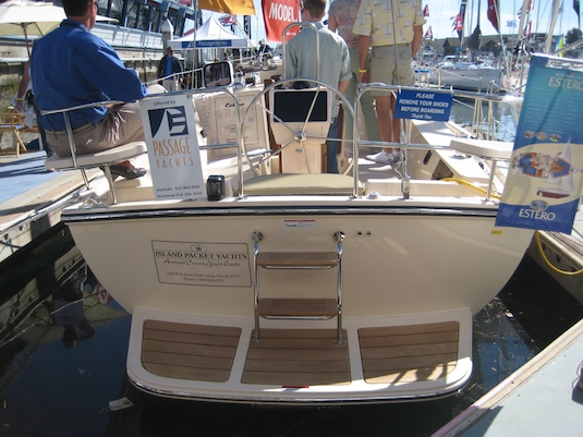 The old-fashioned transom includes a good swim/dinghy-loading platform.