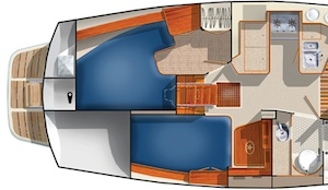 The Estero has a full galley and head amidships, a private aft stateroom, and a larger quarter berth with fold-down nav table.