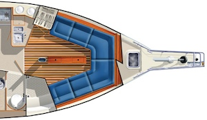 The Estero has an open plan forward, with a convertible dining settee area. Farther forward, there's a large deck locker in front of a full-height bulkhead.