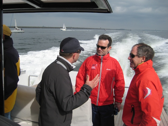 Bill Goggins (Harken), Dan Cooney (US SAILING), and Jack Griffin (Herreshoff Marine Museum) replay the race on the way home.