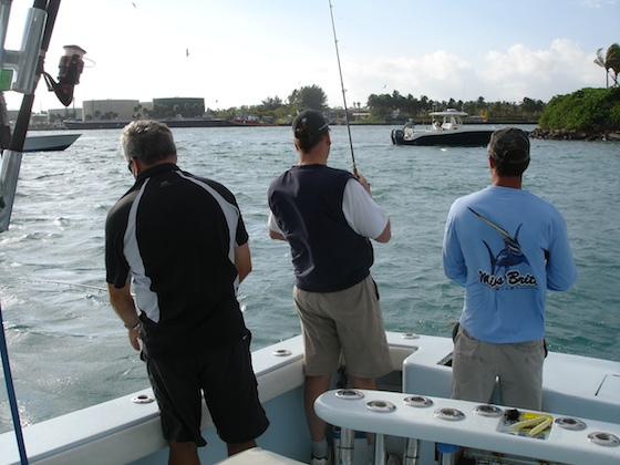 Bait fishing by Miami's Government Cut. Mike Dickman photo