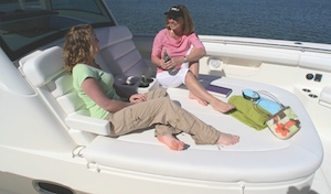 Your crew on the Outrage 370 will enjoy the forward lounging area.