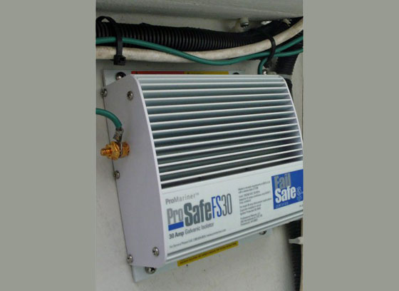 "The ""fail safe"" galvanic insulator on this J/109 will keep the boat's anodes insulated from other boats in your marina."