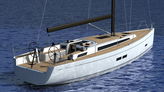 The new Grand Soleil 43 features twin wheels, sleek lines, and uncluttered decks.