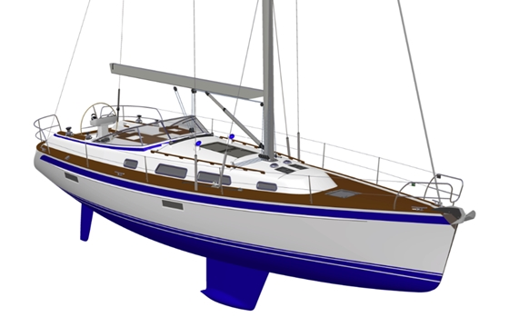 The Hallberg-Rassy 412, designed by Frers, will have the familiar HR looks, with high performance potential.