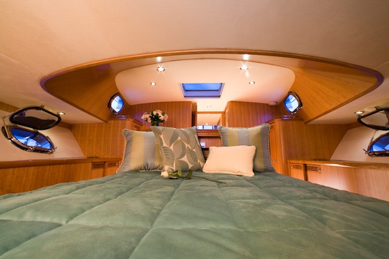 The cabin layout is designed around the master stateroom in the bow.