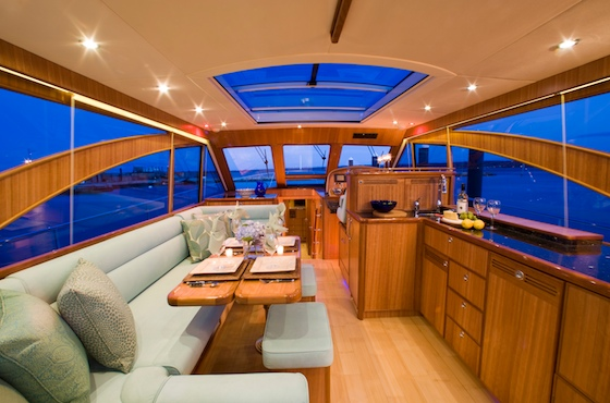 The deck saloon is a beautiful combination of traditional and modern aesthetics.