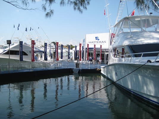 The Hatteras booth at the Yacht & Brokerage Show last weekend.