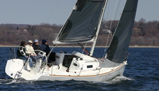 In its first trial, the J/95 sails upwind, with and without its centerboard lowered.