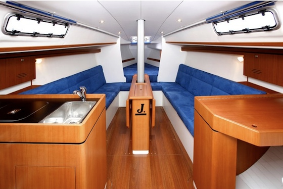 The cabin has six feet of headroom and includes a private aft cabin.