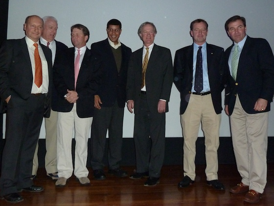 VIPs and speakers at the J Class event included (l to r) David Pitman, Bill Morton, Brad Read, Keith Stokes, Governor Lincoln Chafee, Nick Downs, and Bob Peck.