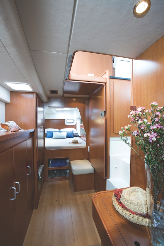 The Leopard 38, a private-owner sistership of the 384, features a beautiful private hull for the owner, with berth aft and head/shower forward.