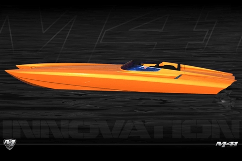 An artist's rendering of the new M41 catamaran from Dave's Custom Boats.