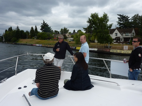 Part of the team on the bow enjoys the ride in the Montlake canal.