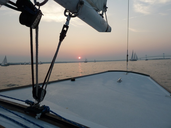 Sunset across the transom of our Shields, Newport, Rhode Island, early August, 2010