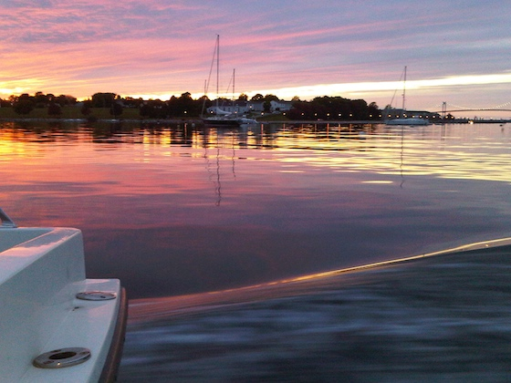 Sunset, Brenton Cove, Newport, Rhode Island, May 2010 - Riding home in the launch after an early season outing