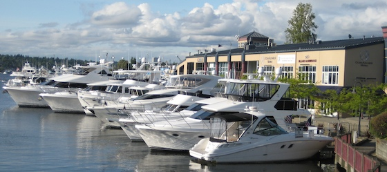 A fleet of Ocean Alexanders anchors the south side of Lake Union in Seattle.