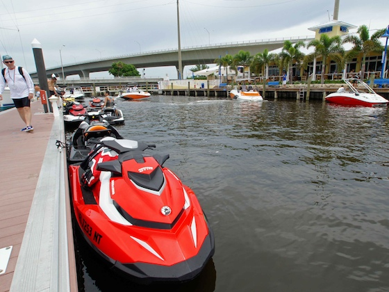 The 2011 Sea-Doo fleet ties up for lunch – no noise, no smoke, no monkey business.