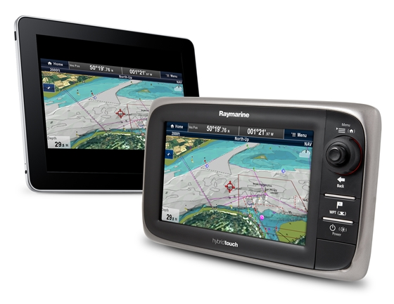 Raymarine's e7 systems, one of which is shown here synced with an iPad, are among the smart units that can exchange information with mobile devices.