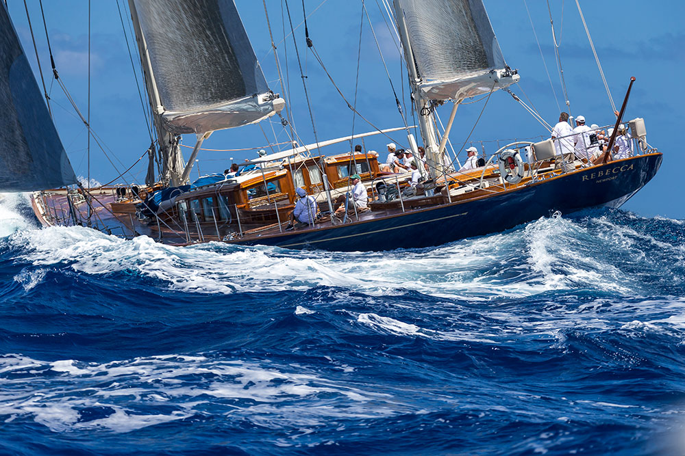 Rebecca under sail at Loro Piana regatta