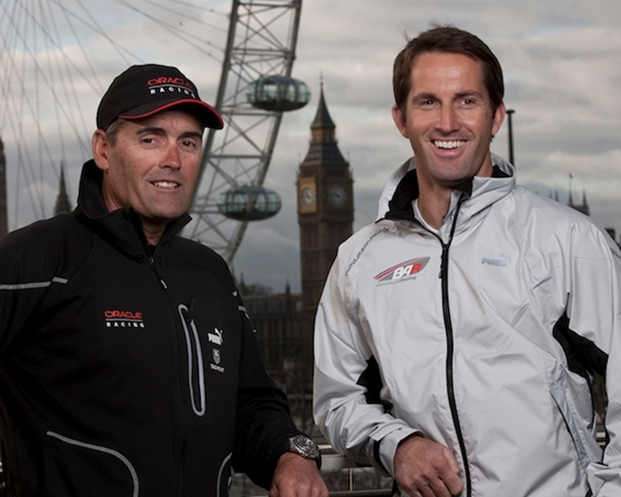 America's Cup defender Russell Coutts, on the left,  poses with Ben Ainslie in London. Ainslie will be competing for the Cup.